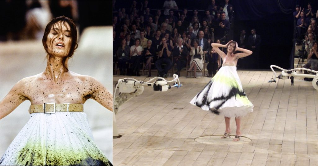 Shalom Harlow being a centerpiece at McQueen's fashion show SS99.